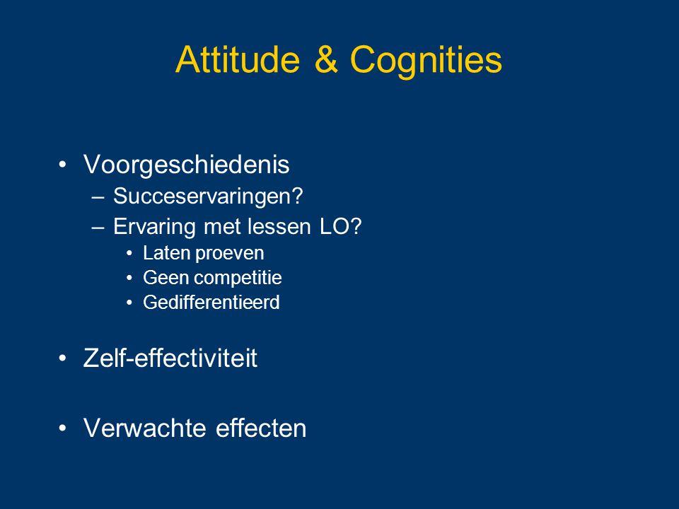 Attitude & Cognities Voorgeschiedenis –Succeservaringen? –Ervaring met lessen LO? Laten proeven Geen competitie Gedifferentieerd Zelf-effectiviteit Ve