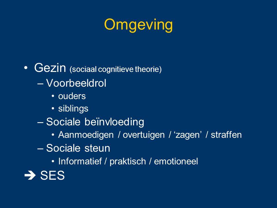 Omgeving Gezin (sociaal cognitieve theorie) –Voorbeeldrol ouders siblings –Sociale beïnvloeding Aanmoedigen / overtuigen / 'zagen' / straffen –Sociale