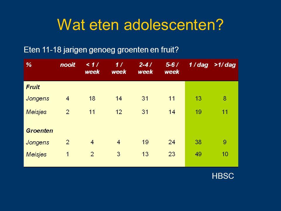 Wat eten adolescenten.Hoe vaak nemen 11-18 jarigen iets uit het topje van de voedingsdriehoek.