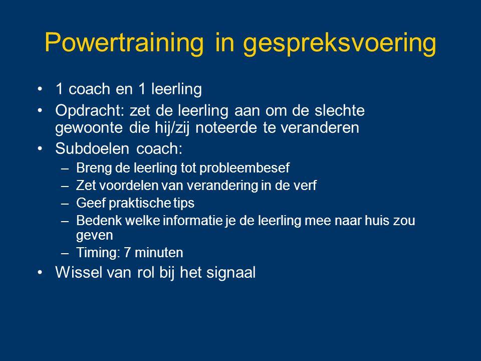 Powertraining in gespreksvoering 1 coach en 1 leerling Opdracht: zet de leerling aan om de slechte gewoonte die hij/zij noteerde te veranderen Subdoel