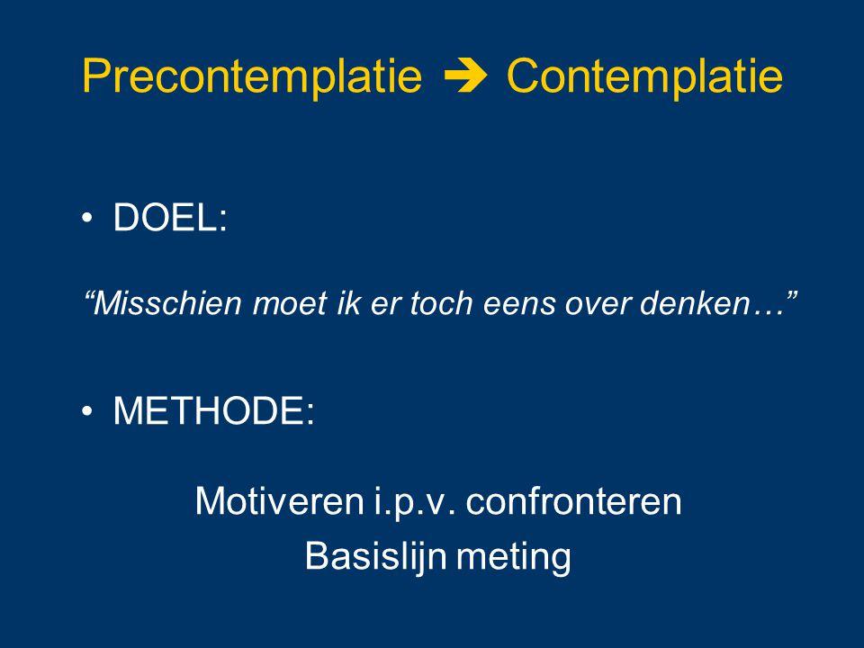 """Precontemplatie  Contemplatie DOEL: """"Misschien moet ik er toch eens over denken…"""" METHODE: Motiveren i.p.v. confronteren Basislijn meting"""