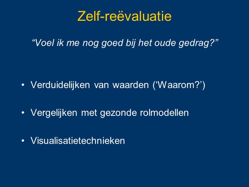 """Zelf-reëvaluatie """"Voel ik me nog goed bij het oude gedrag?"""" Verduidelijken van waarden ('Waarom?') Vergelijken met gezonde rolmodellen Visualisatietec"""