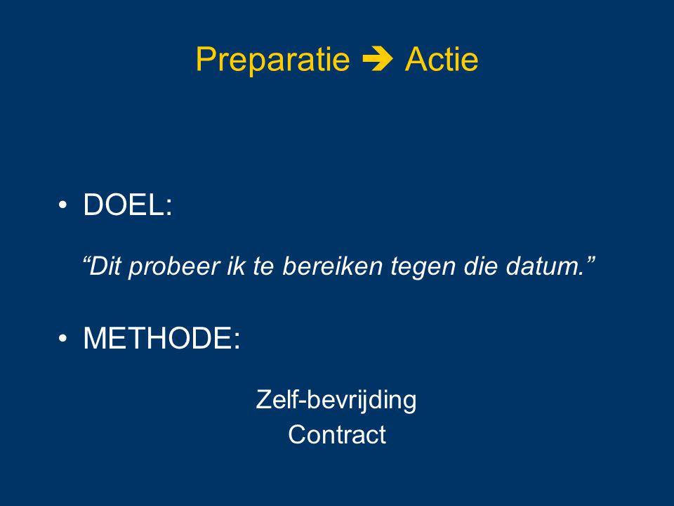 """Preparatie  Actie DOEL: """"Dit probeer ik te bereiken tegen die datum."""" METHODE: Zelf-bevrijding Contract"""