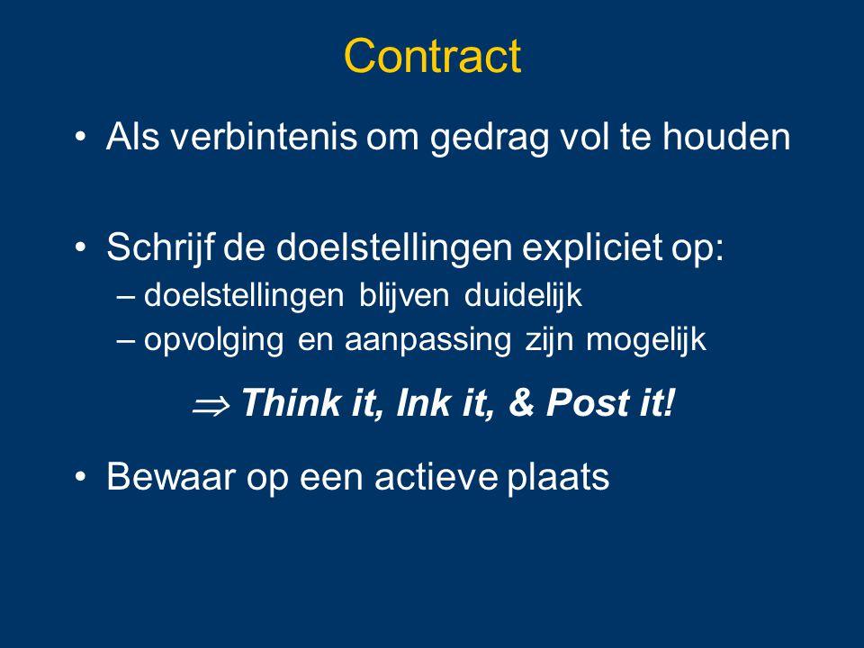 Contract Als verbintenis om gedrag vol te houden Schrijf de doelstellingen expliciet op: –doelstellingen blijven duidelijk –opvolging en aanpassing zi