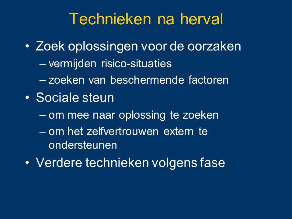 Technieken na herval Zoek oplossingen voor de oorzaken –vermijden risico-situaties –zoeken van beschermende factoren Sociale steun –om mee naar oploss