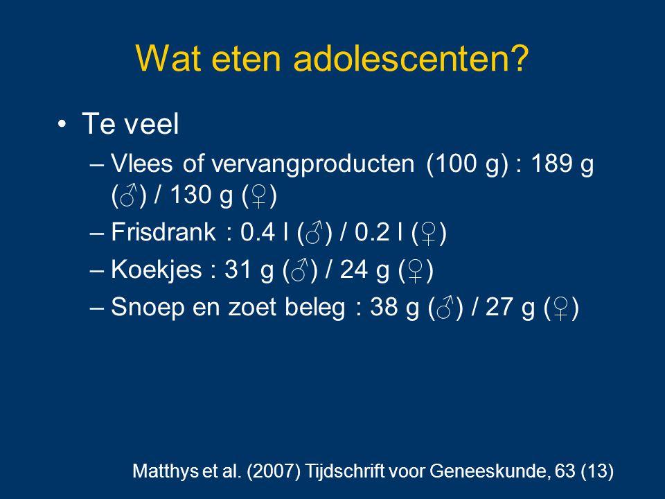 Wat eten adolescenten? Te veel –Vlees of vervangproducten (100 g) : 189 g (♂) / 130 g (♀) –Frisdrank : 0.4 l (♂) / 0.2 l (♀) –Koekjes : 31 g (♂) / 24