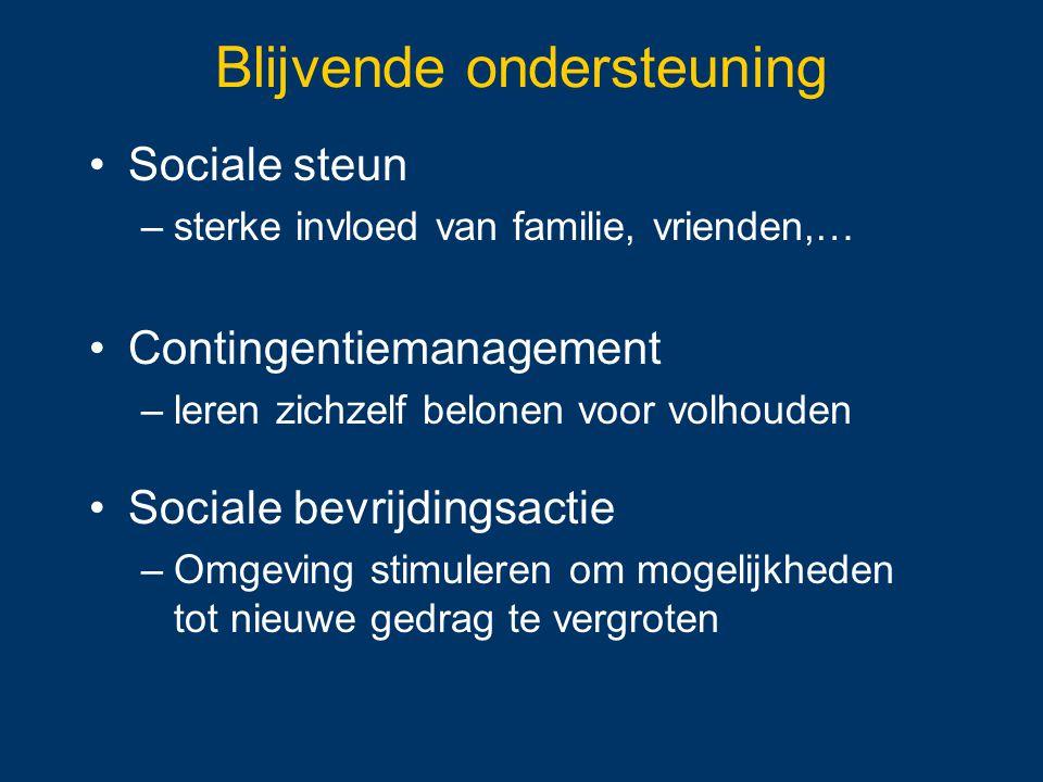 Sociale steun –sterke invloed van familie, vrienden,… Contingentiemanagement –leren zichzelf belonen voor volhouden Sociale bevrijdingsactie –Omgeving