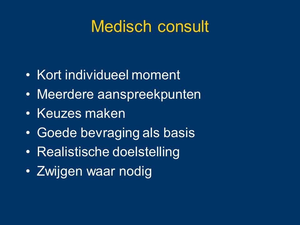 Medisch consult Kort individueel moment Meerdere aanspreekpunten Keuzes maken Goede bevraging als basis Realistische doelstelling Zwijgen waar nodig