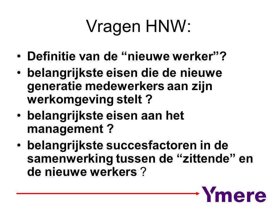 """Vragen HNW: Definitie van de """"nieuwe werker""""? belangrijkste eisen die de nieuwe generatie medewerkers aan zijn werkomgeving stelt ? belangrijkste eise"""