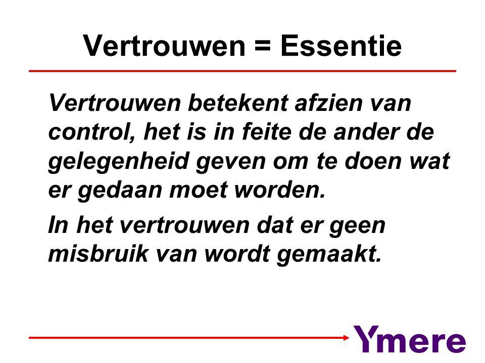 Vertrouwen = Essentie Vertrouwen betekent afzien van control, het is in feite de ander de gelegenheid geven om te doen wat er gedaan moet worden. In h