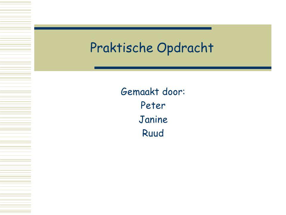 Praktische Opdracht Gemaakt door: Peter Janine Ruud