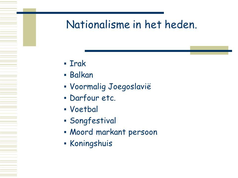 Nationalisme in het heden.  Irak  Balkan  Voormalig Joegoslavië  Darfour etc.