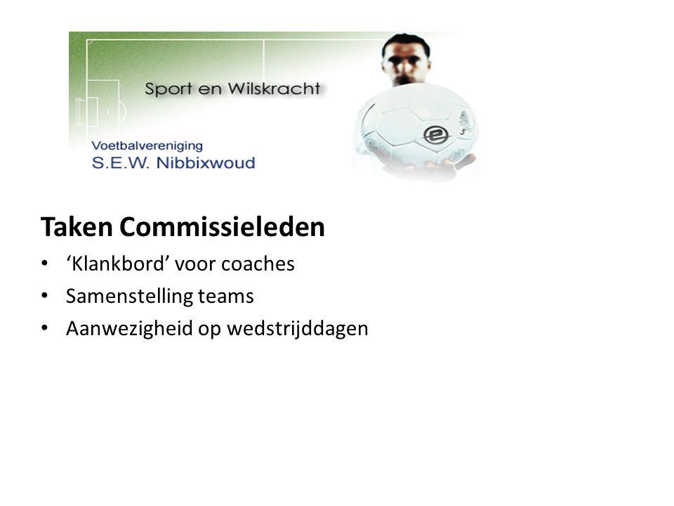 Taken Commissieleden 'Klankbord' voor coaches Samenstelling teams Aanwezigheid op wedstrijddagen