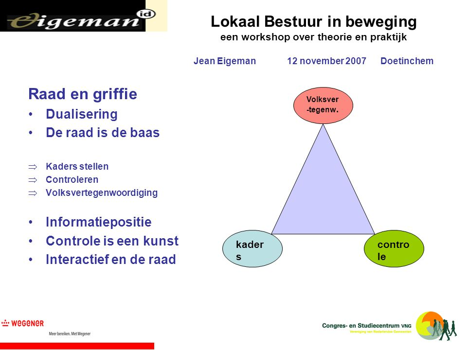 Lokaal Bestuur in beweging een workshop over theorie en praktijk Jean Eigeman12 november 2007Doetinchem Raad en griffie Dualisering De raad is de baas