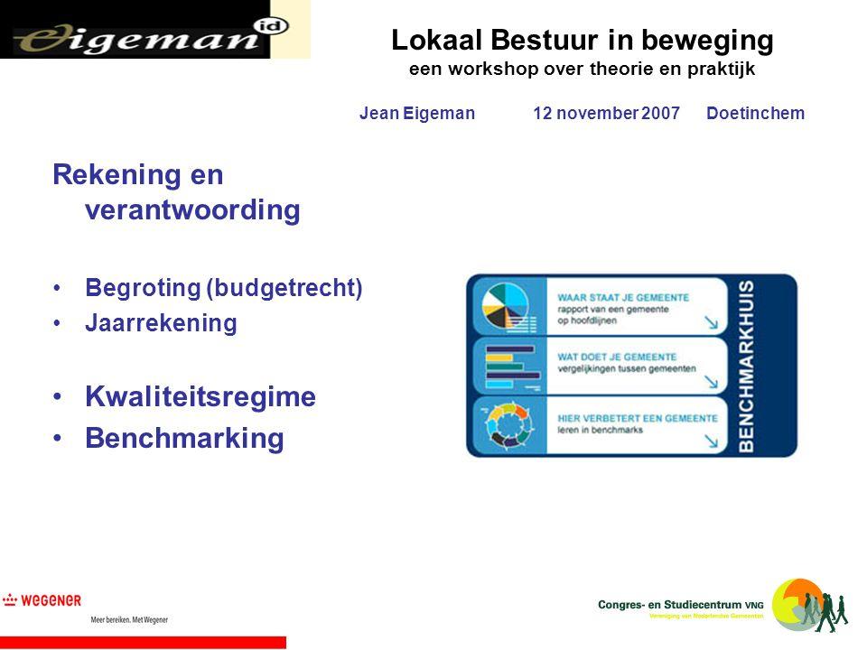 Rekening en verantwoording Begroting (budgetrecht) Jaarrekening Kwaliteitsregime Benchmarking
