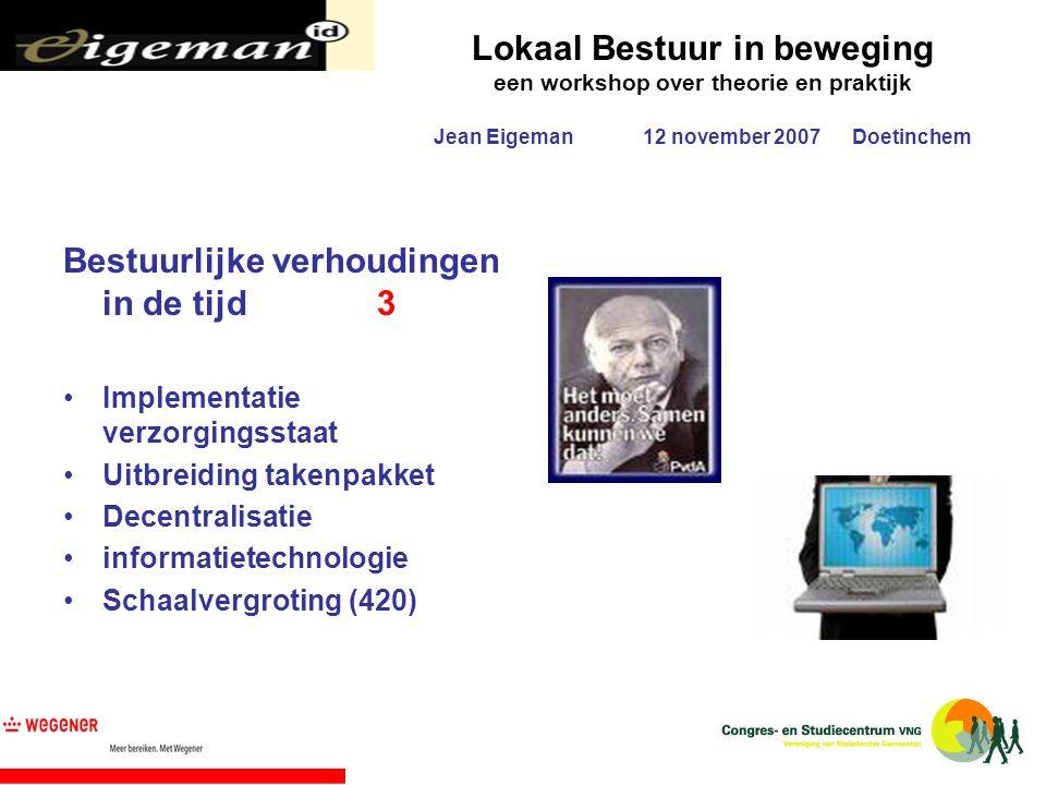 Lokaal Bestuur in beweging een workshop over theorie en praktijk Jean Eigeman12 november 2007Doetinchem Bestuurlijke verhoudingen in de tijd3 Implemen