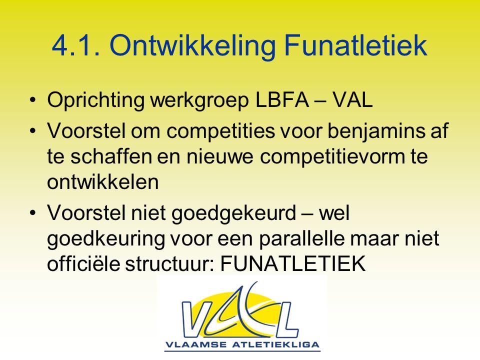 4.1. Ontwikkeling Funatletiek Oprichting werkgroep LBFA – VAL Voorstel om competities voor benjamins af te schaffen en nieuwe competitievorm te ontwik