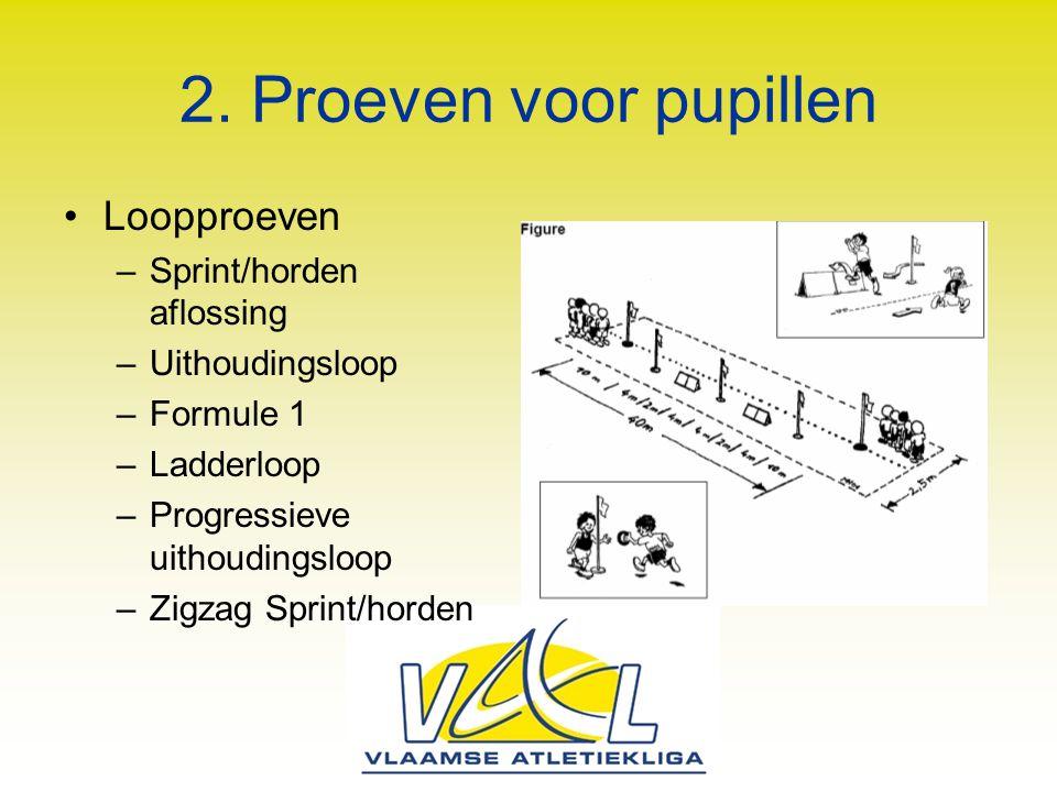 2. Proeven voor pupillen Loopproeven –Sprint/horden aflossing –Uithoudingsloop –Formule 1 –Ladderloop –Progressieve uithoudingsloop –Zigzag Sprint/hor