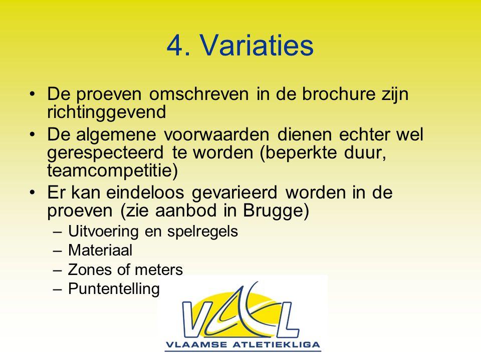 4. Variaties De proeven omschreven in de brochure zijn richtinggevend De algemene voorwaarden dienen echter wel gerespecteerd te worden (beperkte duur