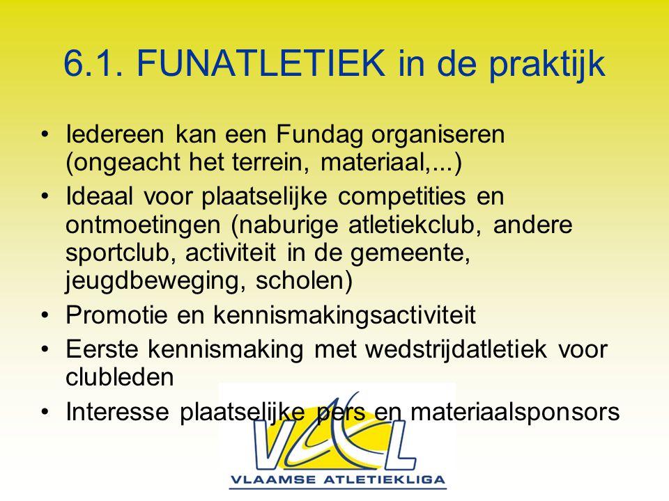 6.1. FUNATLETIEK in de praktijk Iedereen kan een Fundag organiseren (ongeacht het terrein, materiaal,...) Ideaal voor plaatselijke competities en ontm