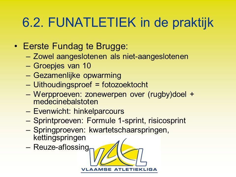 6.2. FUNATLETIEK in de praktijk Eerste Fundag te Brugge: –Zowel aangeslotenen als niet-aangeslotenen –Groepjes van 10 –Gezamenlijke opwarming –Uithoud