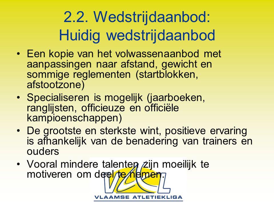 2.2. Wedstrijdaanbod: Huidig wedstrijdaanbod Een kopie van het volwassenaanbod met aanpassingen naar afstand, gewicht en sommige reglementen (startblo