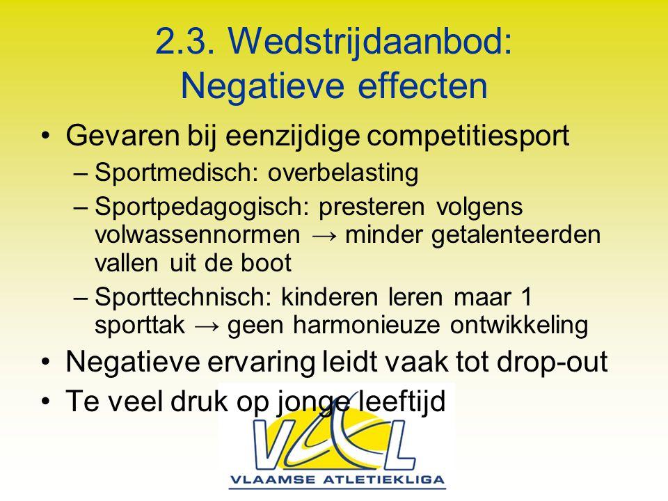 2.3. Wedstrijdaanbod: Negatieve effecten Gevaren bij eenzijdige competitiesport –Sportmedisch: overbelasting –Sportpedagogisch: presteren volgens volw