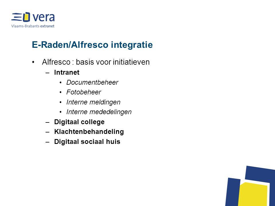 E-Raden/Alfresco integratie Alfresco : basis voor initiatieven –Intranet Documentbeheer Fotobeheer Interne meldingen Interne mededelingen –Digitaal college –Klachtenbehandeling –Digitaal sociaal huis