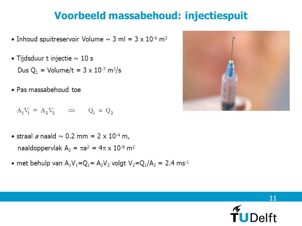 straal a naald ~ 0.2 mm = 2 x 10 -4 m, naaldoppervlak A 2 =  a 2 = 4  x 10 -8 m 2 11 Voorbeeld massabehoud: injectiespuit Inhoud spuitreservoir Vol
