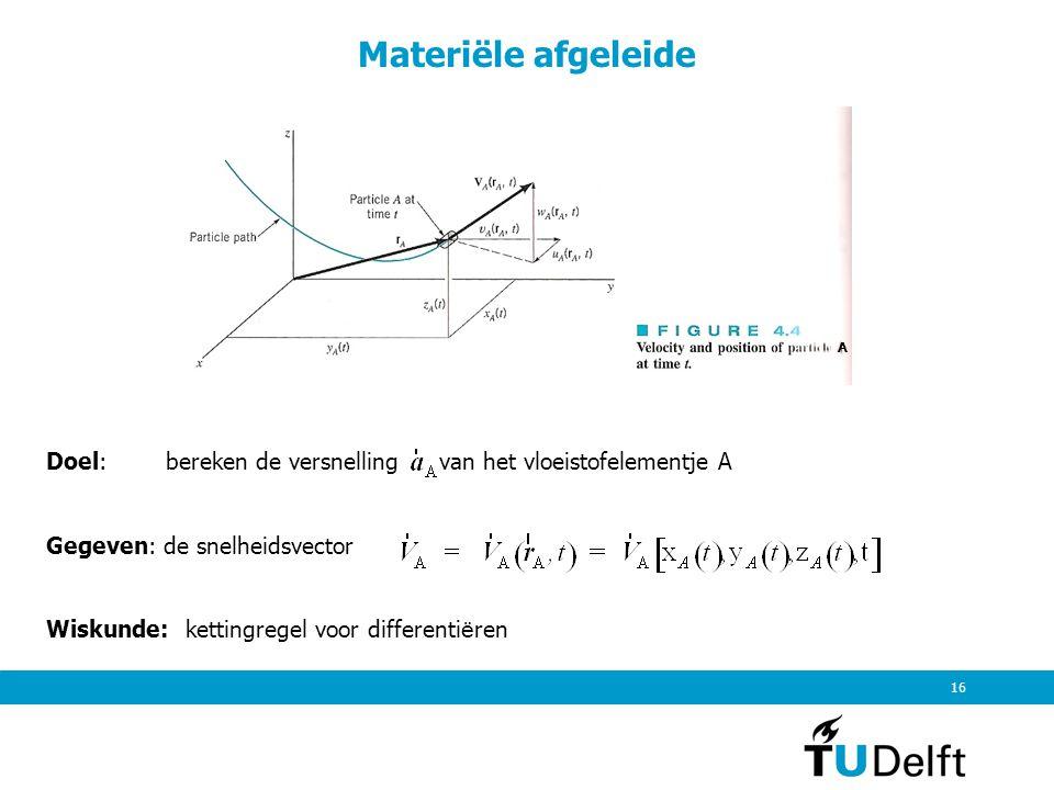 16 Materiële afgeleide A Doel: bereken de versnelling van het vloeistofelementje A Gegeven: de snelheidsvector Wiskunde: kettingregel voor differenti