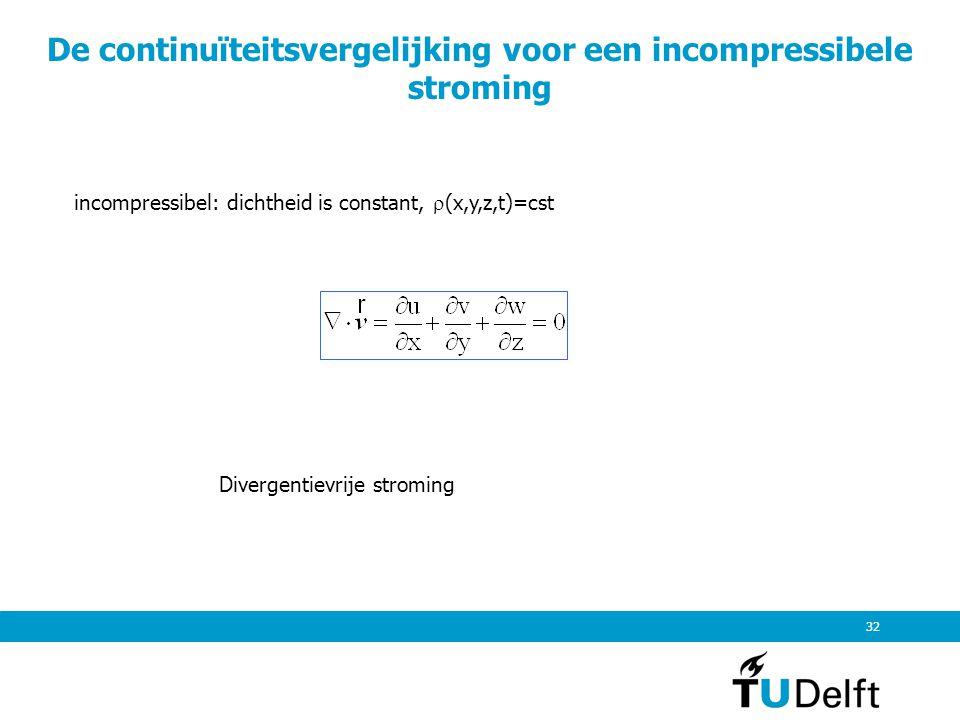 32 De continuïteitsvergelijking voor een incompressibele stroming incompressibel: dichtheid is constant,  (x,y,z,t)=cst Divergentievrije stroming