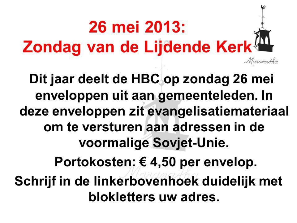 Dit jaar deelt de HBC op zondag 26 mei enveloppen uit aan gemeenteleden. In deze enveloppen zit evangelisatiemateriaal om te versturen aan adressen in