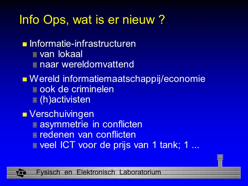 Physics and Electronics Laboratory Info Ops, wat is er nieuw .