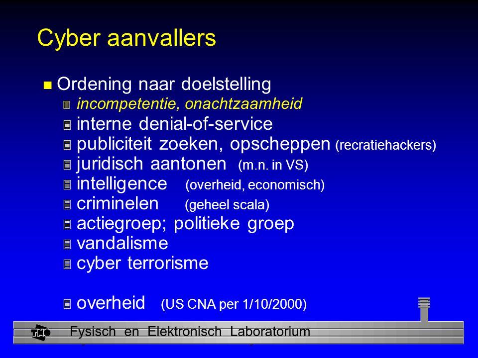 Physics and Electronics Laboratory Cyber aanvallers n Ordening naar doelstelling 3 incompetentie, onachtzaamheid 3 interne denial-of-service 3 publiciteit zoeken, opscheppen (recratiehackers) 3 juridisch aantonen (m.n.