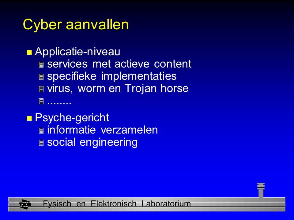 Physics and Electronics Laboratory Cyber aanvallen n Applicatie-niveau 3 services met actieve content 3 specifieke implementaties 3 virus, worm en Trojan horse 3........