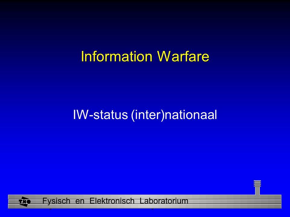 Physics and Electronics Laboratory Information Warfare IW-status (inter)nationaal
