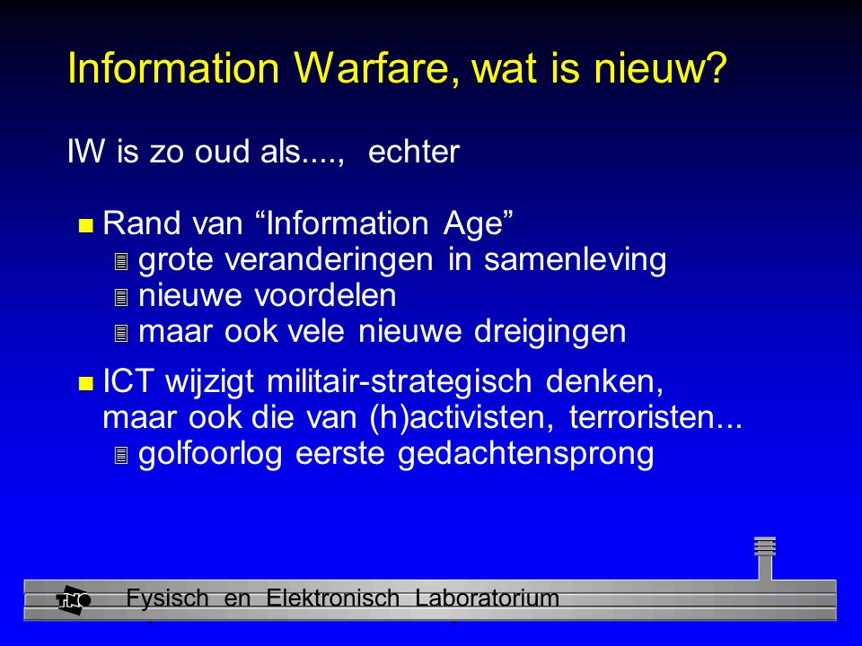 Physics and Electronics Laboratory NL infrastructuren n Gasdistributie: telemetrie n Elektriciteit: Bleiswijk (1995) ; Utrecht ( 23/6/1997 ); Haarlem (6 uur; 1999) n Telecom 3 Groningen 4 fibers (16/6/1999); Almere...