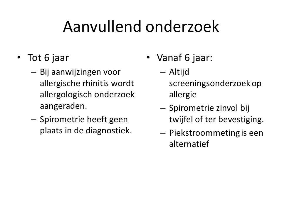 Aanvullend onderzoek Tot 6 jaar – Bij aanwijzingen voor allergische rhinitis wordt allergologisch onderzoek aangeraden. – Spirometrie heeft geen plaat