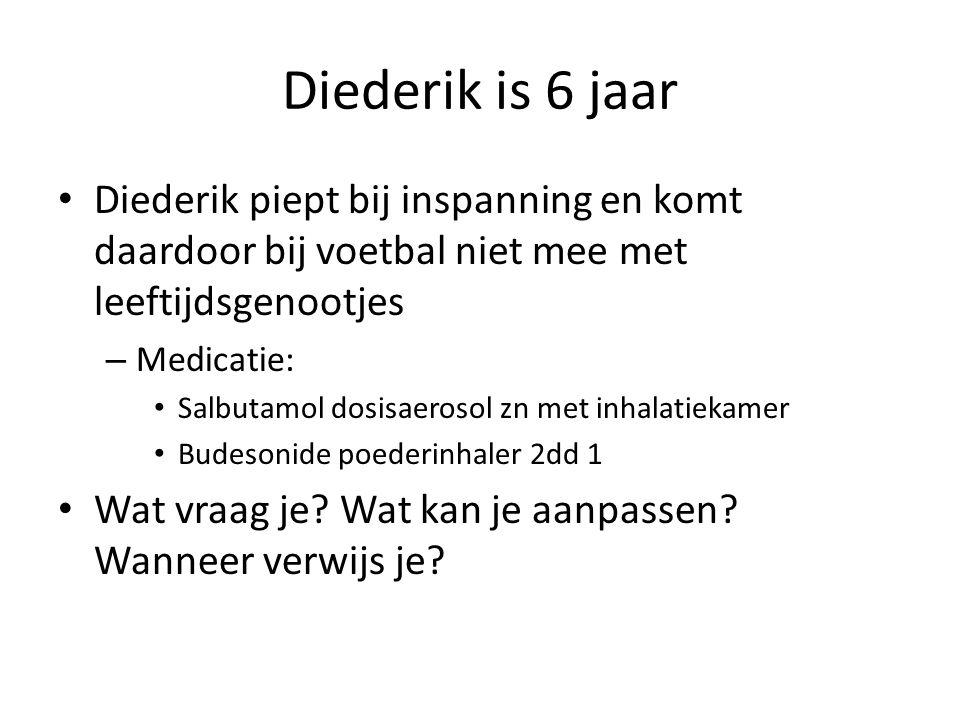Diederik is 6 jaar Diederik piept bij inspanning en komt daardoor bij voetbal niet mee met leeftijdsgenootjes – Medicatie: Salbutamol dosisaerosol zn