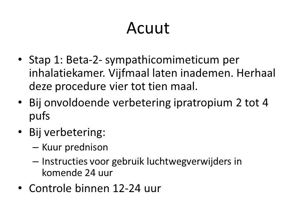 Acuut Stap 1: Beta-2- sympathicomimeticum per inhalatiekamer. Vijfmaal laten inademen. Herhaal deze procedure vier tot tien maal. Bij onvoldoende verb