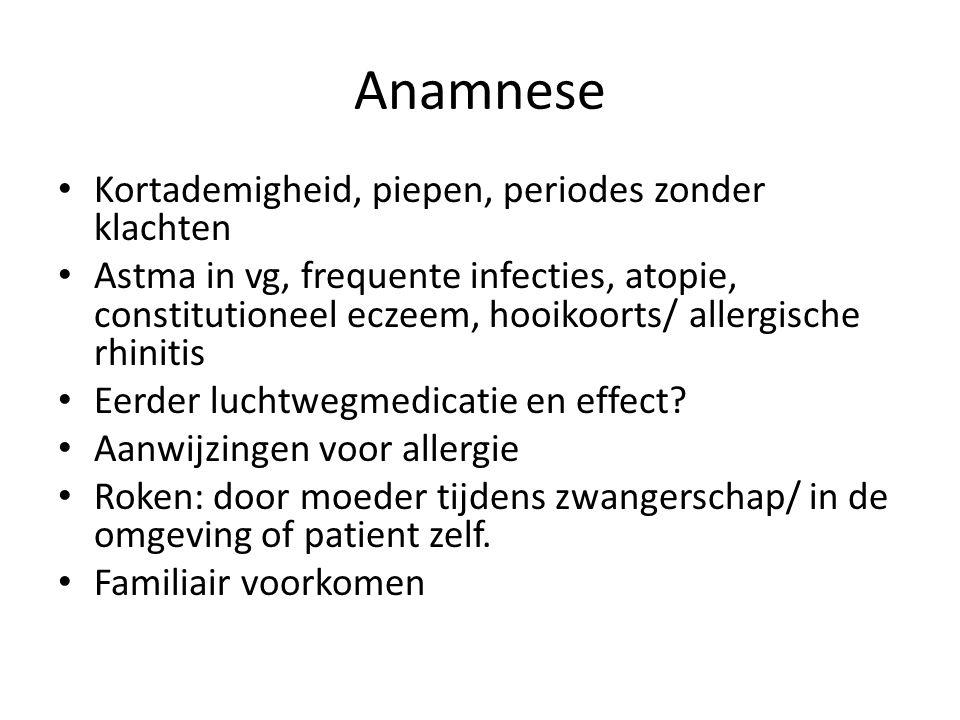 Anamnese Kortademigheid, piepen, periodes zonder klachten Astma in vg, frequente infecties, atopie, constitutioneel eczeem, hooikoorts/ allergische rh