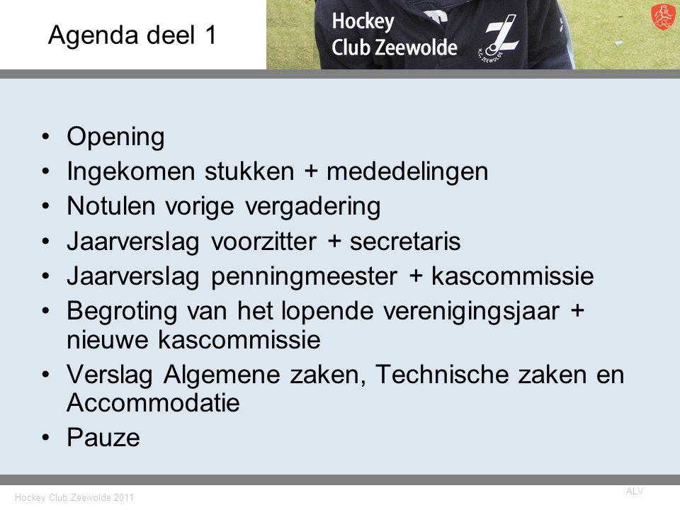 Hockey Club Zeewolde 2011 ALV Agenda deel 1 Opening Ingekomen stukken + mededelingen Notulen vorige vergadering Jaarverslag voorzitter + secretaris Ja