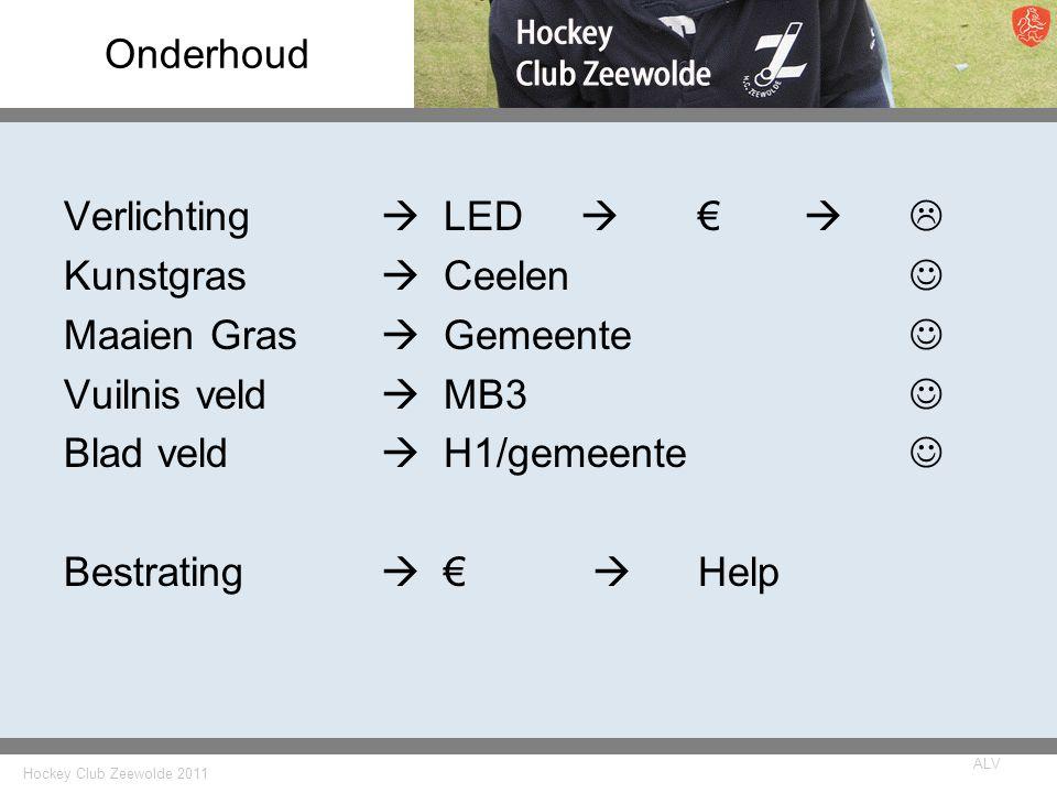 Hockey Club Zeewolde 2011 ALV Onderhoud Verlichting  LED  €   Kunstgras  Ceelen Maaien Gras  Gemeente Vuilnis veld  MB3 Blad veld  H1/gemeente Bestrating  €  Help