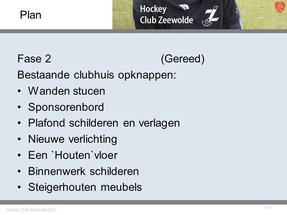 Hockey Club Zeewolde 2011 ALV Plan Fase 2(Gereed) Bestaande clubhuis opknappen: Wanden stucen Sponsorenbord Plafond schilderen en verlagen Nieuwe verl