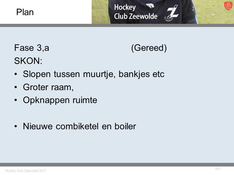 Hockey Club Zeewolde 2011 ALV Plan Fase 3,a(Gereed) SKON: Slopen tussen muurtje, bankjes etc Groter raam, Opknappen ruimte Nieuwe combiketel en boiler