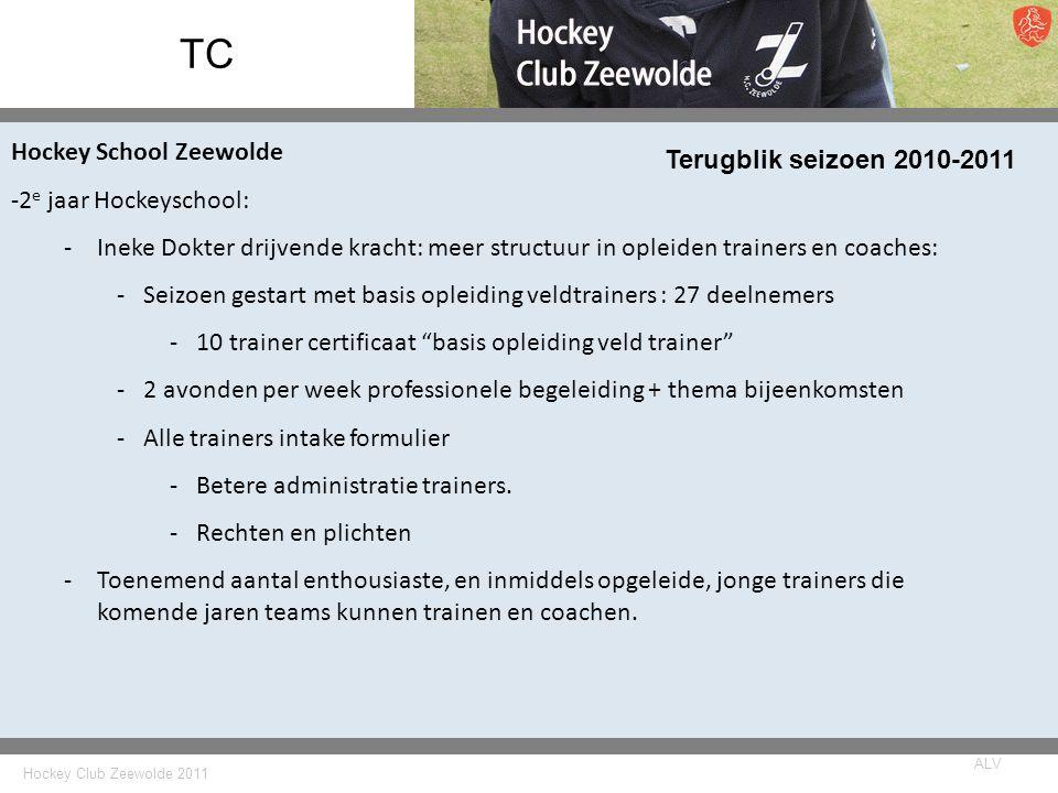 Hockey Club Zeewolde 2011 ALV TC Terugblik seizoen 2010-2011 Hockey School Zeewolde -2 e jaar Hockeyschool: -Ineke Dokter drijvende kracht: meer struc