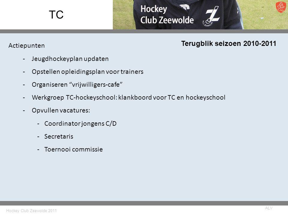 Hockey Club Zeewolde 2011 ALV TC Terugblik seizoen 2010-2011 Actiepunten -Jeugdhockeyplan updaten -Opstellen opleidingsplan voor trainers -Organiseren vrijwilligers-cafe -Werkgroep TC-hockeyschool: klankboord voor TC en hockeyschool -Opvullen vacatures: -Coordinator jongens C/D -Secretaris -Toernooi commissie