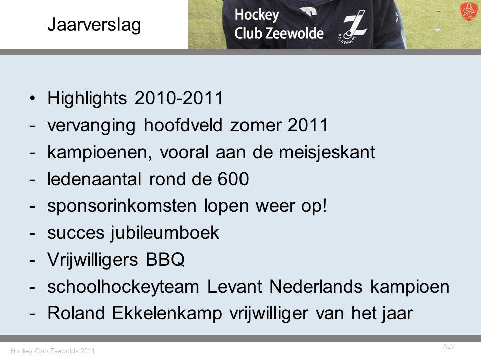Hockey Club Zeewolde 2011 ALV Jaarverslag Highlights 2010-2011 -vervanging hoofdveld zomer 2011 -kampioenen, vooral aan de meisjeskant -ledenaantal rond de 600 -sponsorinkomsten lopen weer op.