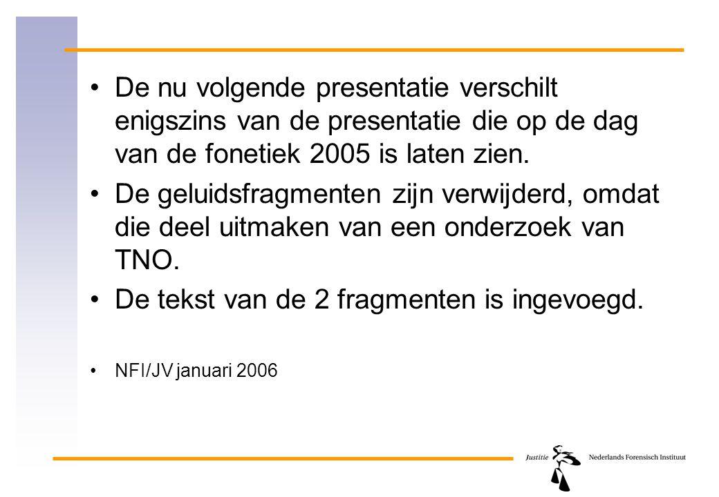 De nu volgende presentatie verschilt enigszins van de presentatie die op de dag van de fonetiek 2005 is laten zien. De geluidsfragmenten zijn verwijde