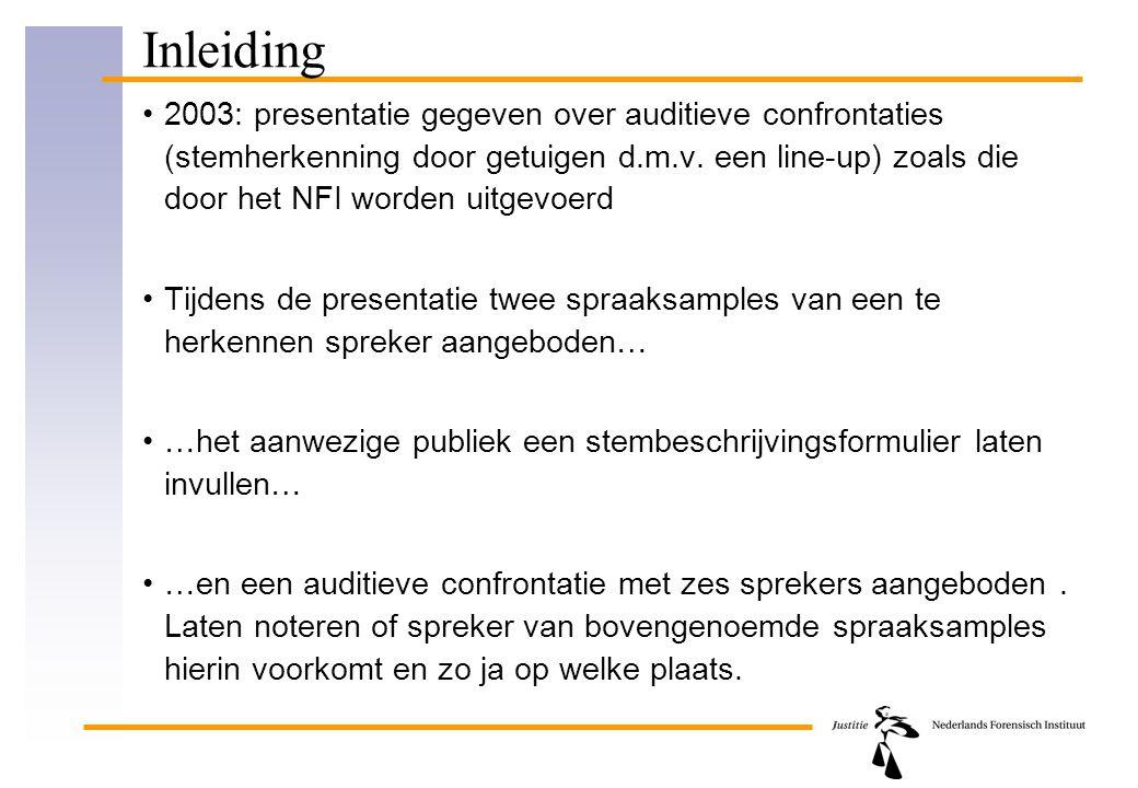 Inleiding 2003: presentatie gegeven over auditieve confrontaties (stemherkenning door getuigen d.m.v. een line-up) zoals die door het NFI worden uitge